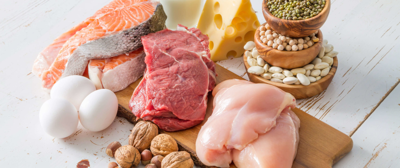 Fisch, Fleisch, Eier und pflanzliche Proteine